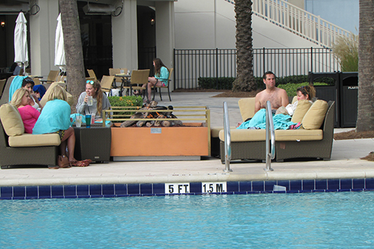 Waldorf Astoria Orlando fire pit by the pool